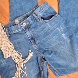 Skinny Boyfriend Distressed Jeans 8 Short